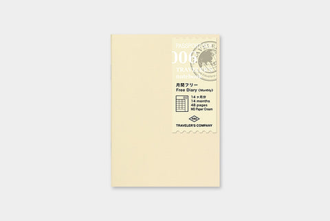 TN Traveler's Notebook Passportr Size Refill - 006 - Free Diary (Monthly)