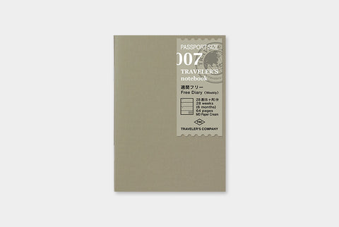 TN Traveler's Notebook Passport Size Refill - 007 - Free Diary (Weekly)
