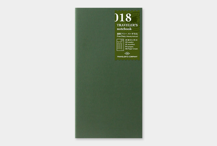 TN Traveler's Notebook Regular Size Refill - 018 - Free Diary (Weekly)