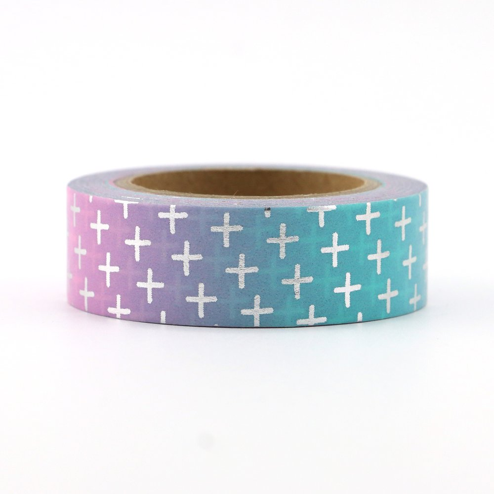 Washi Tape - 15mm - Silver Cross Ombre Foil