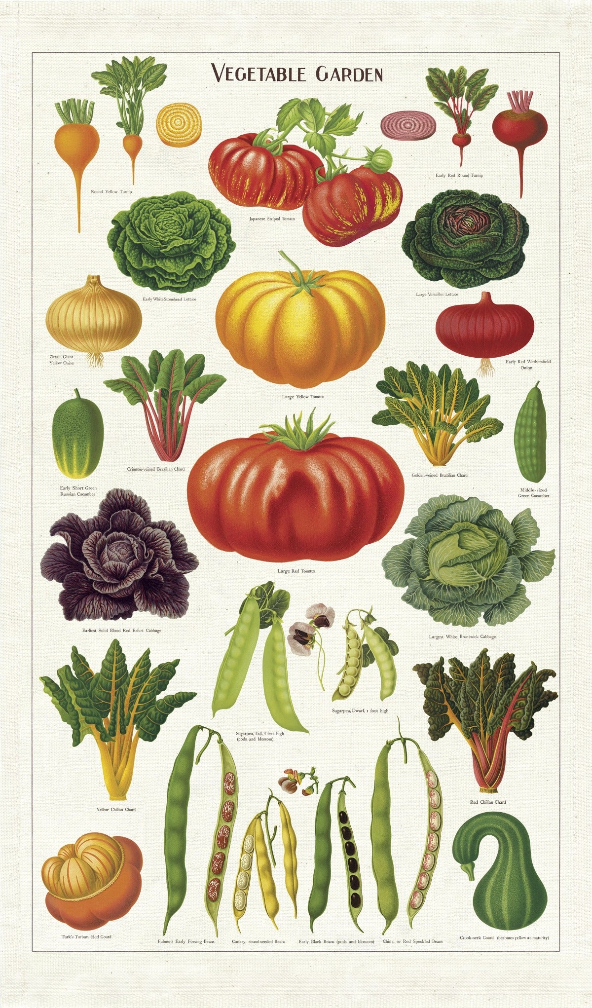 Cavallini Tea Towel - Vegetable Garden