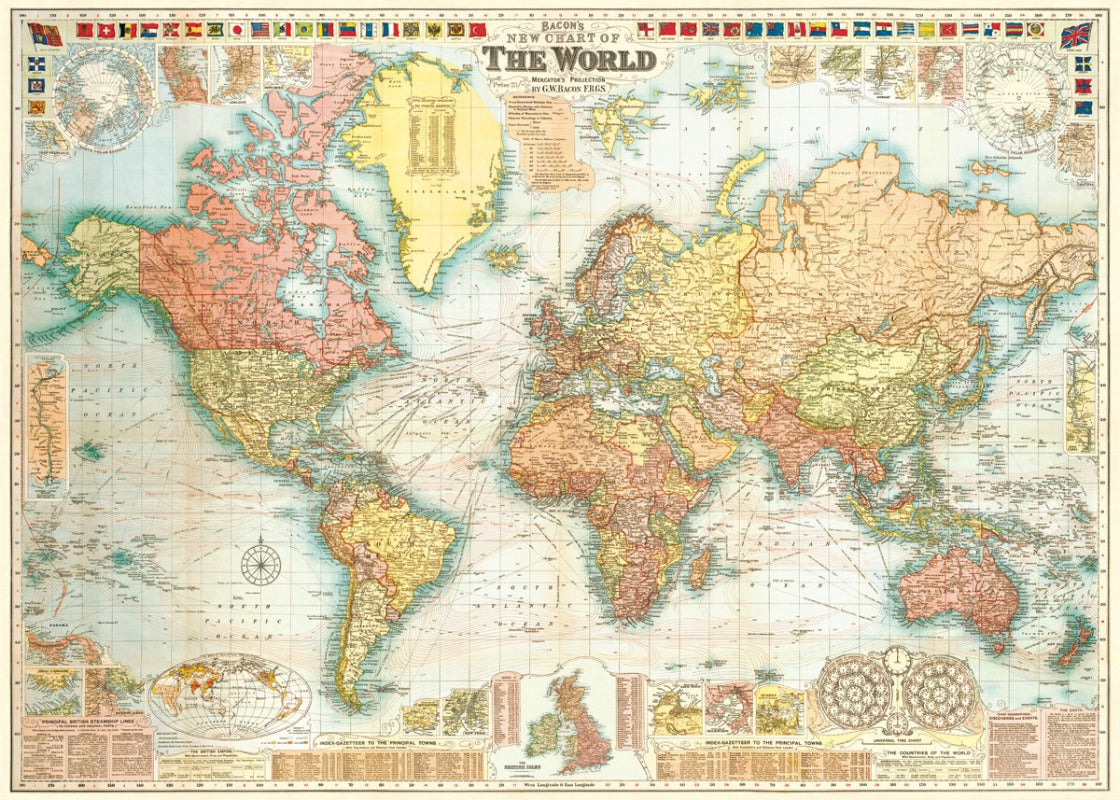 Cavallini Wrap - World Map 5
