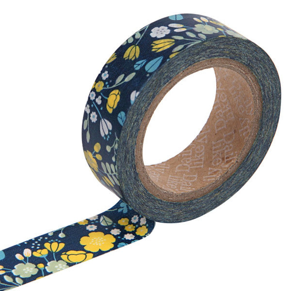 Washi Tape - 15mm - Wedding Bouquet Navy