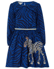 Load image into Gallery viewer, Monsoon Christie zebra dress blue - 4 years