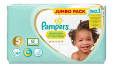 Load image into Gallery viewer, Pampers Premium Protection Size 5, Jumbo Pack 47 Nappies, 11-16kg