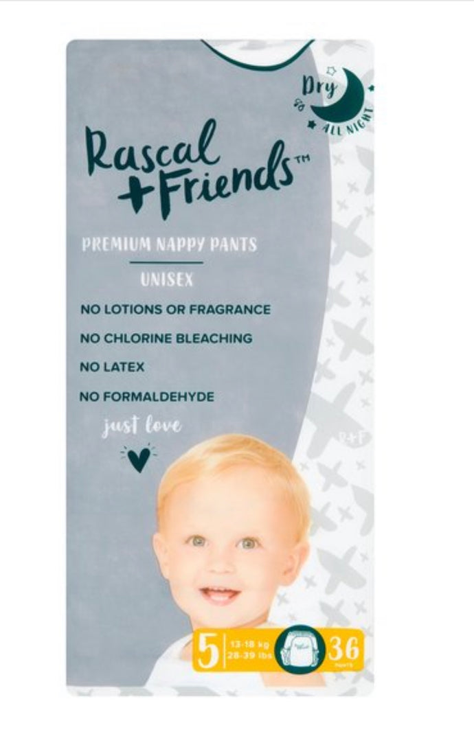 Rascal & Friends Nappy Pants Size 5 36Pack- (13-18kg)