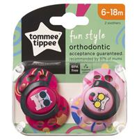 Load image into Gallery viewer, Tommee Tippee Closer To Nature Fun Style Soothers 6-18 Months 2 Pack