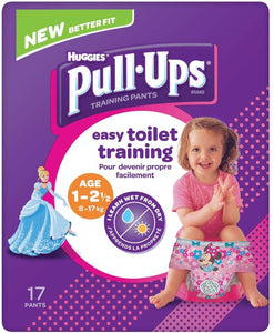 Huggies Pull Ups Potty Training Pants Girls 1-2.5 Years, 17 Pants