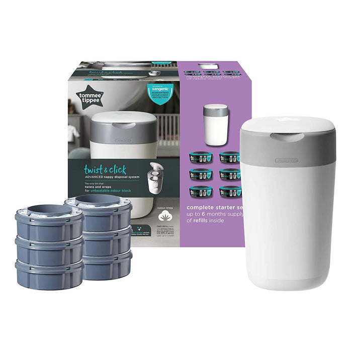 Tommee Tippee Twist and Click Advanced Nappy Disposal Sangenic Tec- with 6 refill cartridges