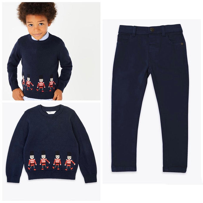 M&S Soldier Knit Jumper & Chino Navy Pants