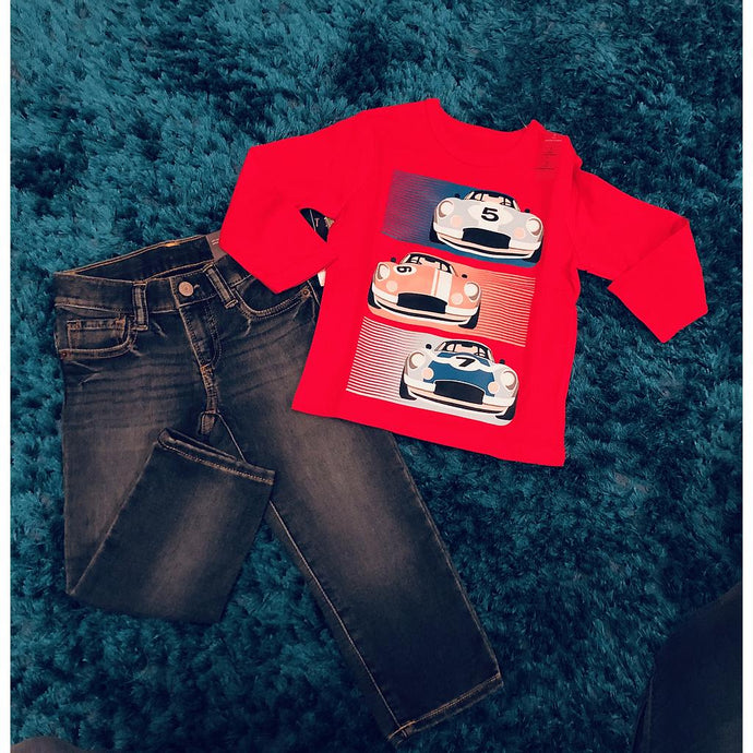 Gap Toddler Graphic Long Sleeve T-Shirt With Matching Jeans - Red