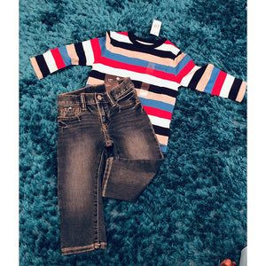 GapToddler Stripe Pocket Long Sleeve T-Shirt With matching Jeans- Pure Red Stripe