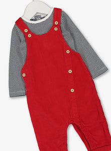 Red Dungaree &Stripe Body Suit Set