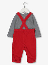Load image into Gallery viewer, Red Dungaree &Stripe Body Suit Set