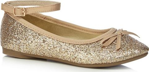 Girls Gold Glitter Ankle Strap pumps