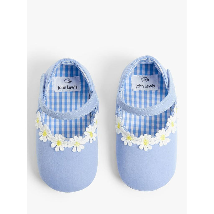 John Lewis & Partners Baby Daisy Sandal Shoes, Blue, 12-18 months