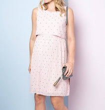 Load image into Gallery viewer, Blush Dot Pleated Maternity & Nursing Dress