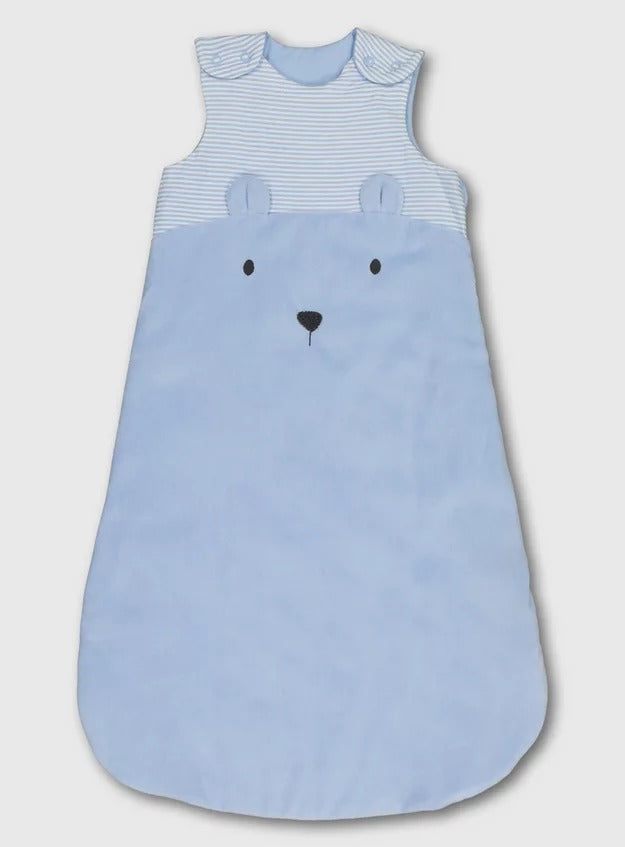 Blue Stripy Bear Velour 1.5 Tog Sleeping Bag (18-24 Months)