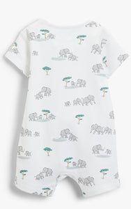 John Lewis & Partners Baby GOTS Organic Cotton Elephant Romper, White