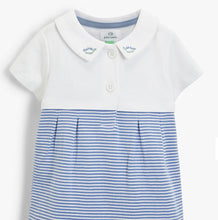 Load image into Gallery viewer, John Lewis & Partners Baby GOTS Organic Cotton Dinosaur Collar Romper, Blue