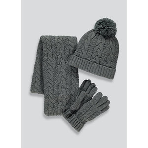 3 Piece Hat Scarf And Gloves Set