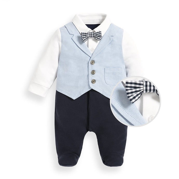 Jojo Maman Bebe Blue Waistcoat All-In-One Baby Outfit 3-6m