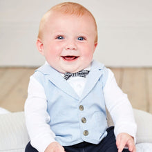 Load image into Gallery viewer, Jojo Maman Bebe Blue Waistcoat All-In-One Baby Outfit 3-6m