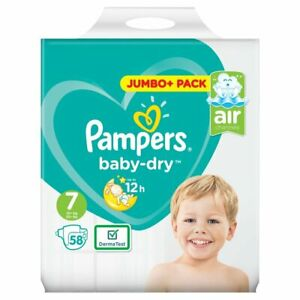 Pampers Baby Dry Size 7 Jumbo+ Pack 58 Nappies, (15+kg)