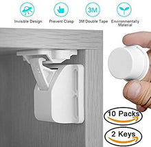 Load image into Gallery viewer, AYCORN Child & Baby Safety Proof Magnetic Cupboard Locks, 10 Locks & 2 Keys