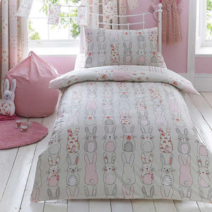 Katy Rabbit Pink Duvet Cover,Pillow Case and Fitted Sheet Set