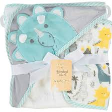 White Dino Themed Hooded Towel Set