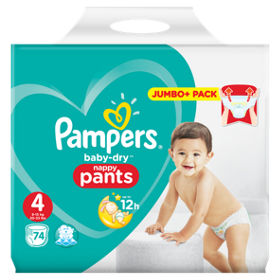 Pampers baby-dry size 4 Nappy Pants, 9 kg - 15 kg 74 pack