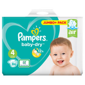 Pampers Baby-Dry Size 4 Nappies 86 Jumbo+ Pack, (9-14kg)