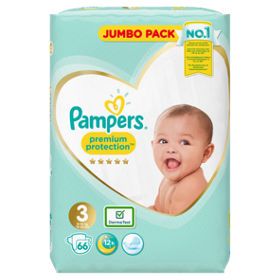 Pampers Premium Protection Size 3 Nappies Jumbo Pack- 66 pieces, 6-10kg