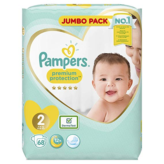 Pampers Premium Protection Diapers New Baby, Gr. 2 mini (4-8 kg), jumbo pack, 1 pack (1 x 68 pieces)
