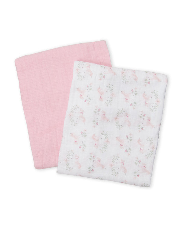 Two Pack Pink & White Muslin Blankets - Kyle & Deena