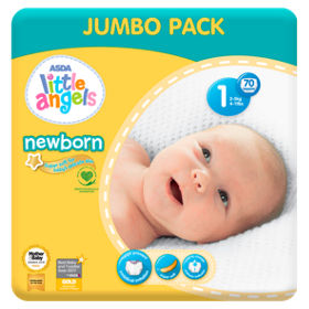 Little Angels Newborn Size 1 Nappies Jumbo Pack - 70 Nappies, 2 kgs - 5 kgs