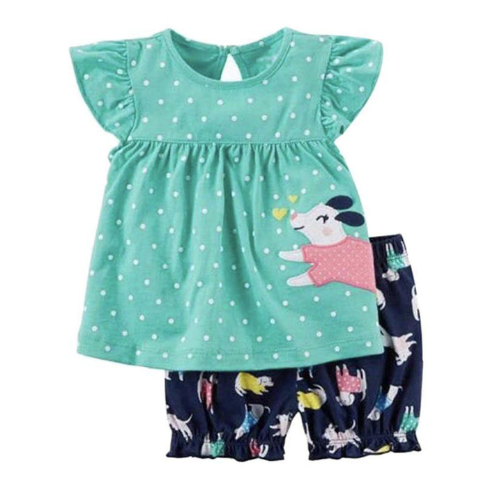 Sky Blue Dotted Bloomers Outfit