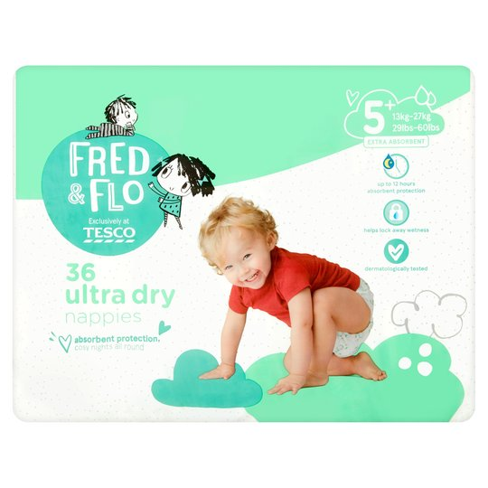 Fred & Flo Ultra Dry Size 5+ Nappies - 36 pack, (13-27kg)