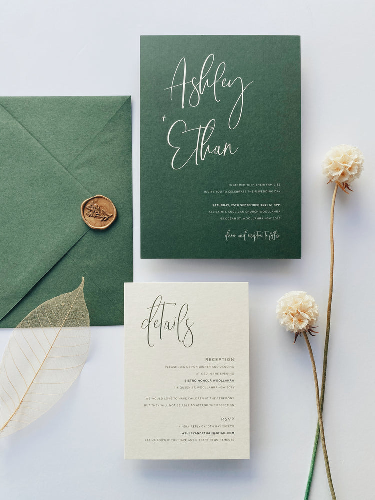 Ashley's Calligraphy in Olive Green