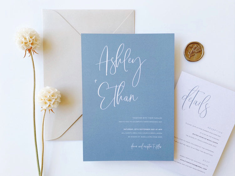 Load image into Gallery viewer, Ashley's Calligraphy in Light Dusty Blue - Digital file