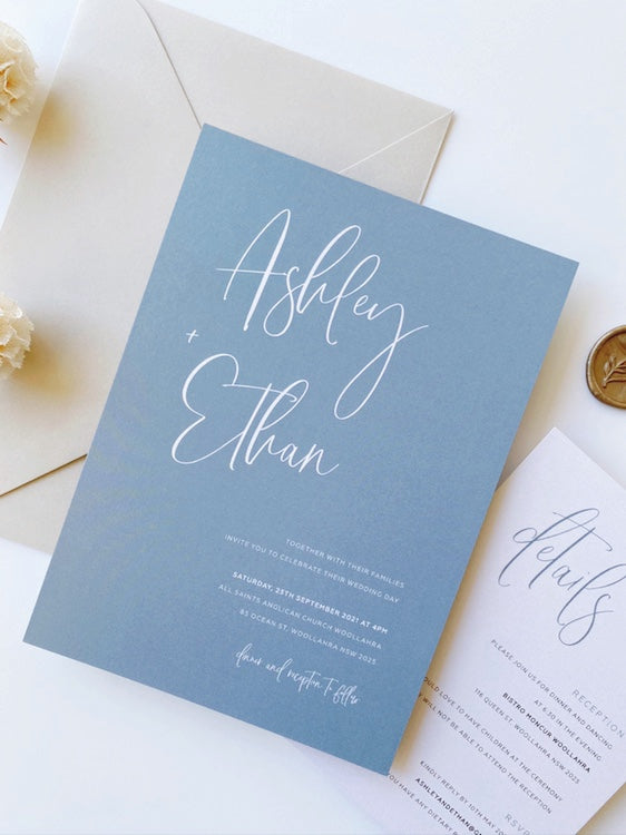 Ashley's Calligraphy in Light Dusty Blue