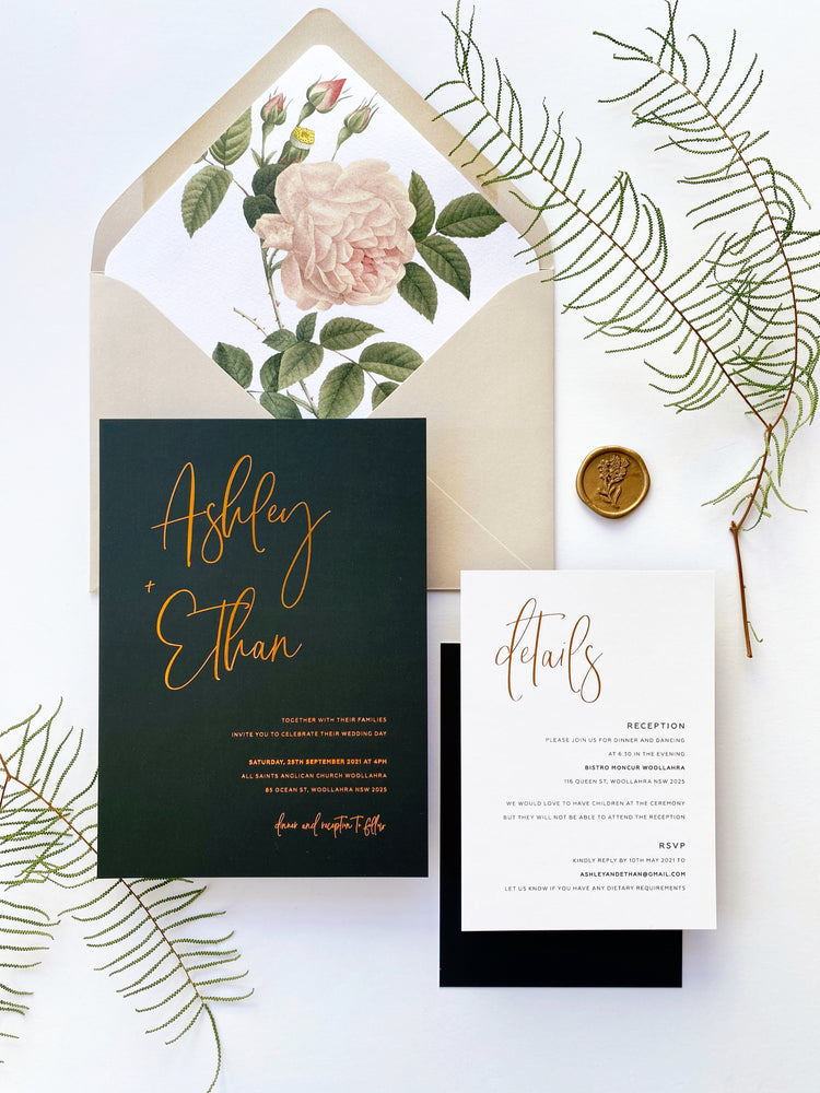 Ashley's Calligraphy in Black with Hot Foil