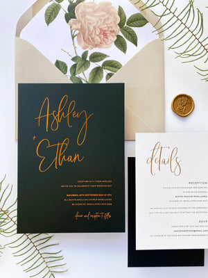 Load image into Gallery viewer, Ashley's Calligraphy in Black with Hot Foil