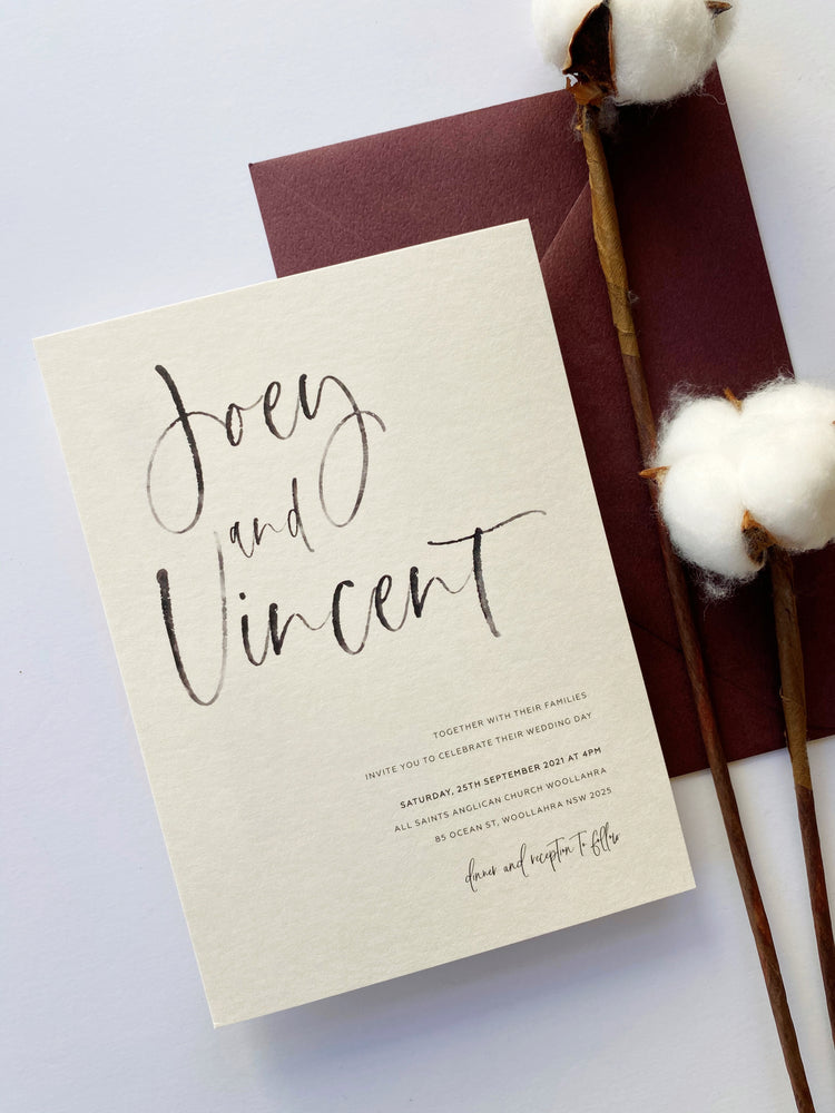 Load image into Gallery viewer, Carly's Calligraphy in Burgundy