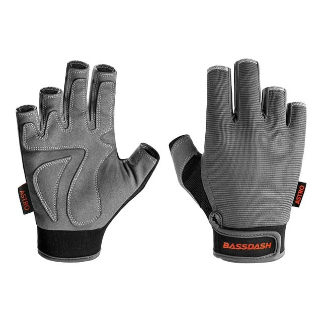 Bassdash Astro Heavy-Duty Sure Grip Fishing Gloves Men's Women's Fingerless Gloves for Game Fishing Kayaking Paddling Sailing