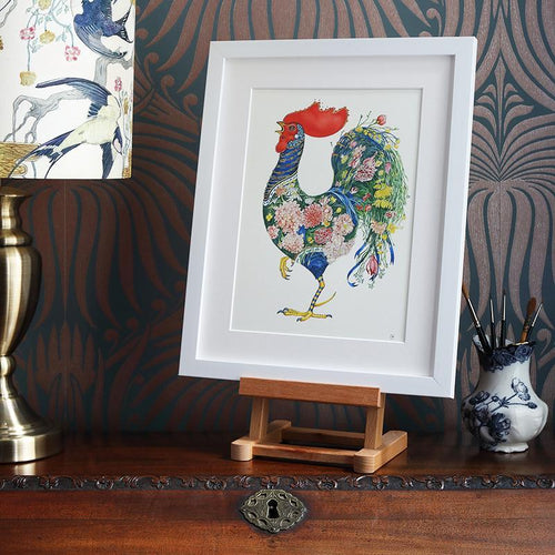 Rooster with Flowers - Print - The DM Collection