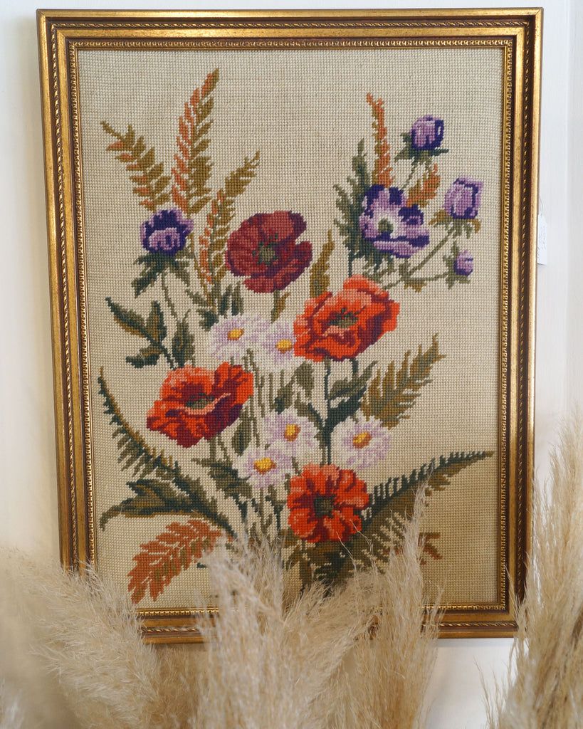 Vintage Gold Framed Embroidered Floral Art