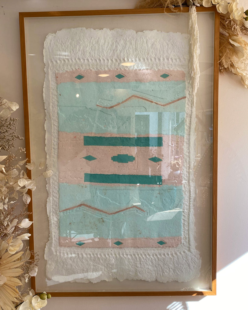 Large Framed 80's Handmade Paper Art