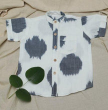 Load image into Gallery viewer, White-Grey Ikat Shirt